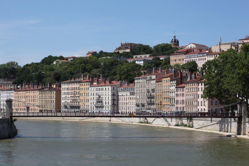 Mening van Lyon met Saone-rivier stock foto