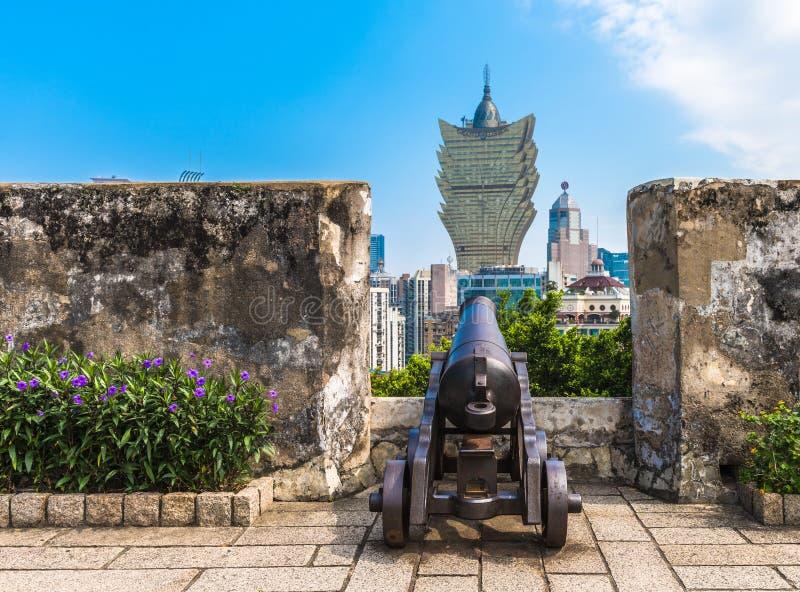 Mening van Macao van Monte Fort-muren royalty-vrije stock afbeeldingen