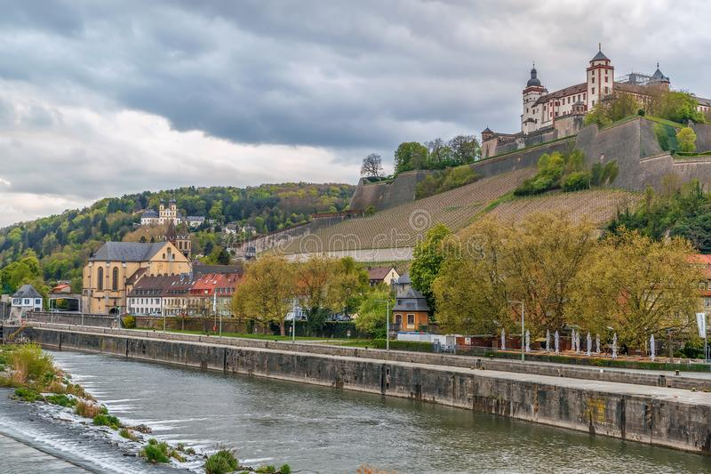 Mening van Marienberg-Vesting, Wurzburg, Duitsland royalty-vrije stock foto