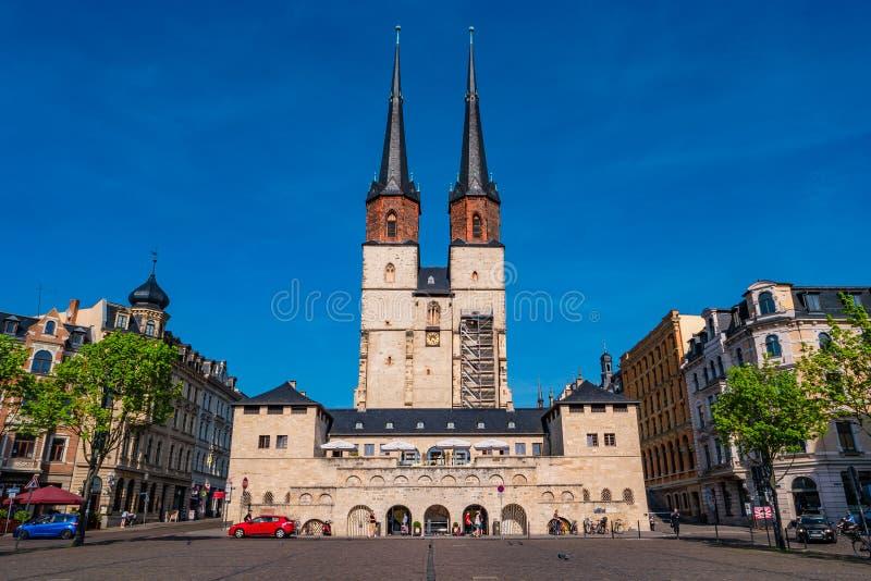 Mening van Marktkerk van Onze Beste Dame of Marktkirche Unser Lieb stock afbeelding