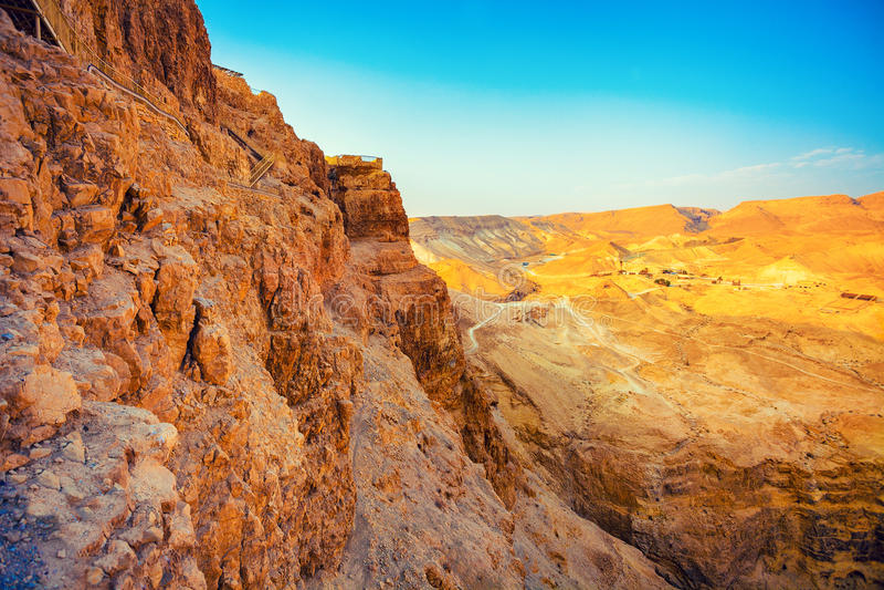 Mening van Masada, Israël stock foto