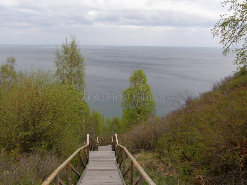 Mening van Meer Baikal van de hoge bank Het gebied van Irkoetsk siberië royalty-vrije stock afbeeldingen