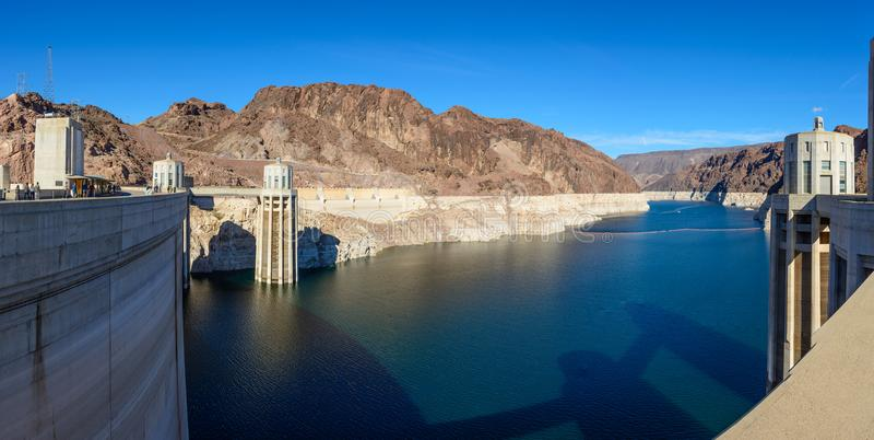 Mening van Meer Mead Reservoir van de Hoover-Dam royalty-vrije stock afbeeldingen