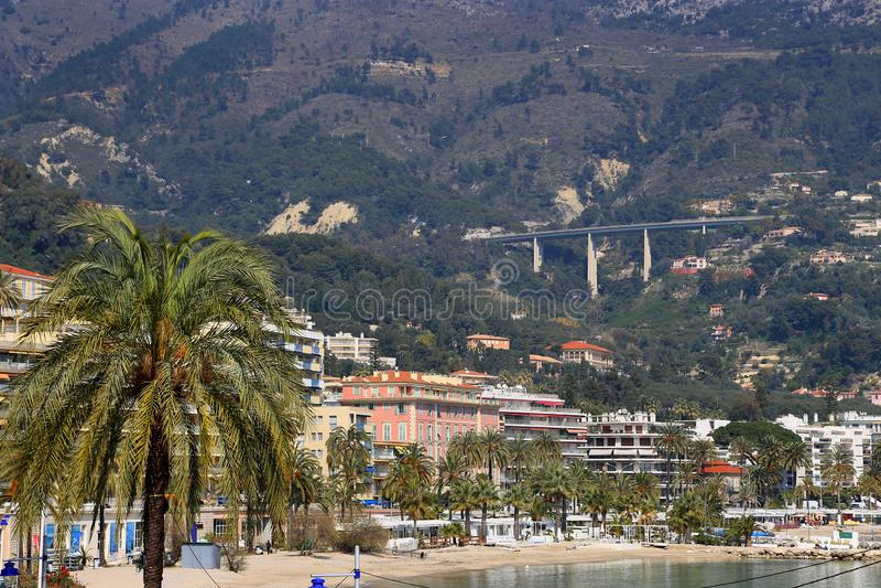 Mening van Menton stad, Franse Riviera, Frankrijk royalty-vrije stock afbeelding