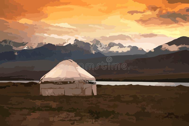 Mening van Mongolië Yurts traditionele Mongoolse woningen in Mongoolse steppe vector illustratie