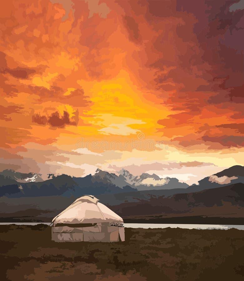 Mening van Mongolië Yurts traditionele Mongoolse woningen in Mongoolse steppe Bergen op achtergrond Reisschets stock illustratie