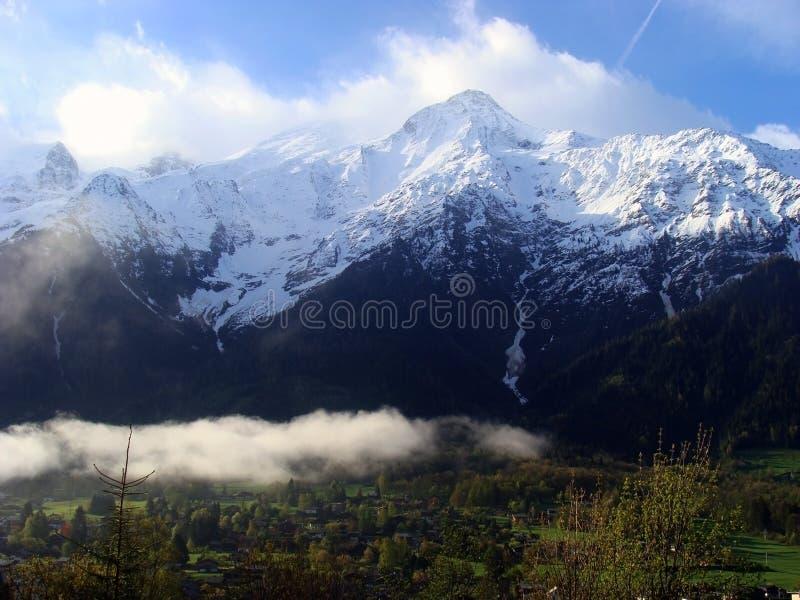Mening van Mont Blanc, Chamonix, Frankrijk royalty-vrije stock foto