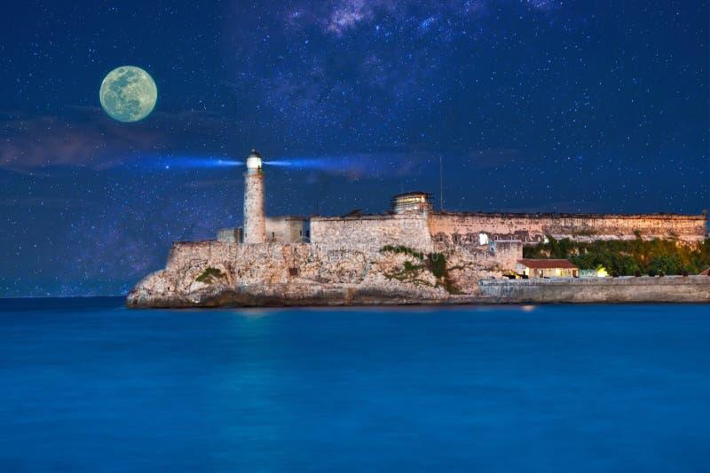 Mening van Morro-Kasteel van Malecon op een volle maan stock afbeeldingen