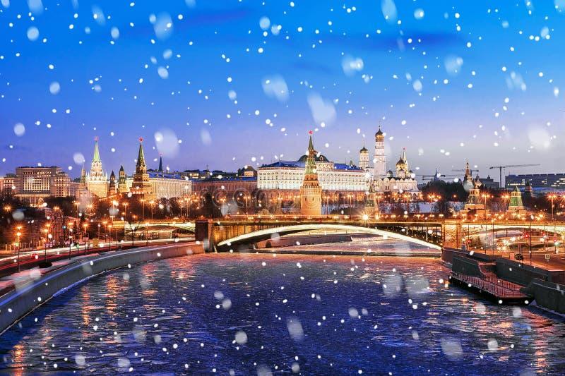 Mening van Moskou het Kremlin, Rusland stock foto's