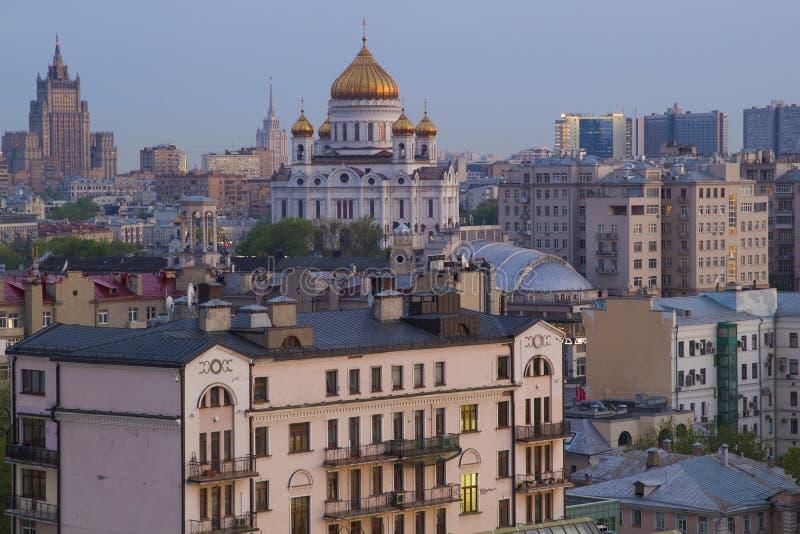 Mening van Moskou met high-rise gebouwen stock afbeelding