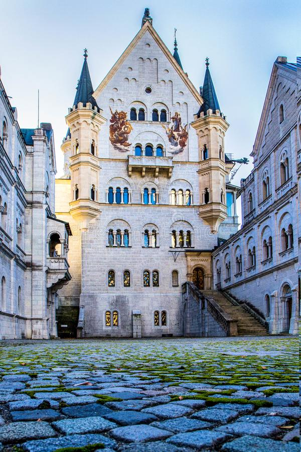 Mening van Neuschwanstein-Kasteel in Fussen, Beieren, Duitsland royalty-vrije stock foto's