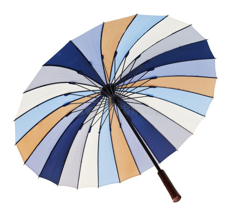 Mening van onderaan van open gestreepte paraplu royalty-vrije stock foto's