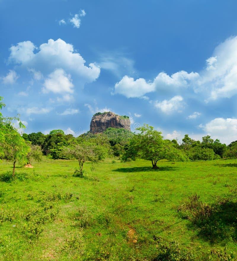 Mening van onderstel Sigiriya, Sri Lanka (Ceylon). stock fotografie
