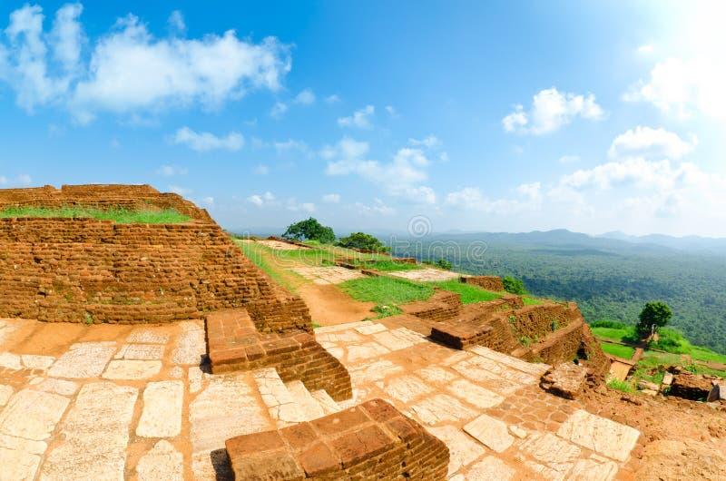 Mening van onderstel Sigiriya, Sri Lanka (Ceylon). stock foto