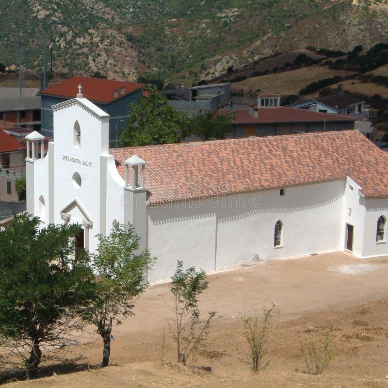 Mening van Orgosolo-kerk stock foto's