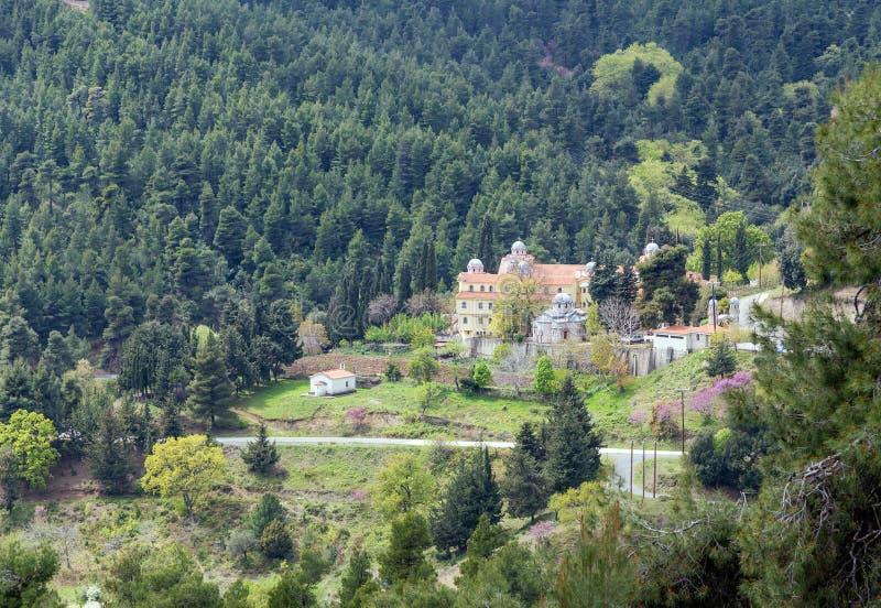 Mening van Osios David Monastery, Euboea, Griekenland royalty-vrije stock fotografie
