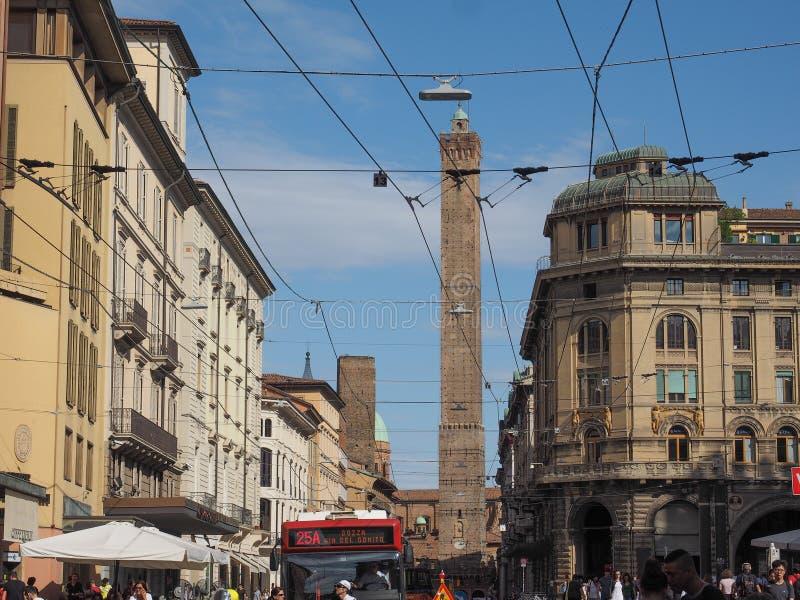 Mening van oud de stadscentrum van Bologna royalty-vrije stock fotografie