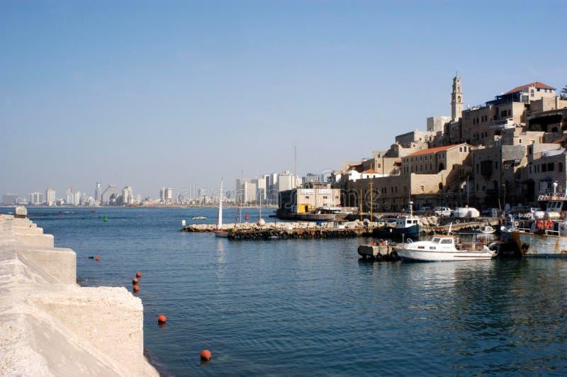 Mening van oude haven Jaffa in Israël royalty-vrije stock foto's