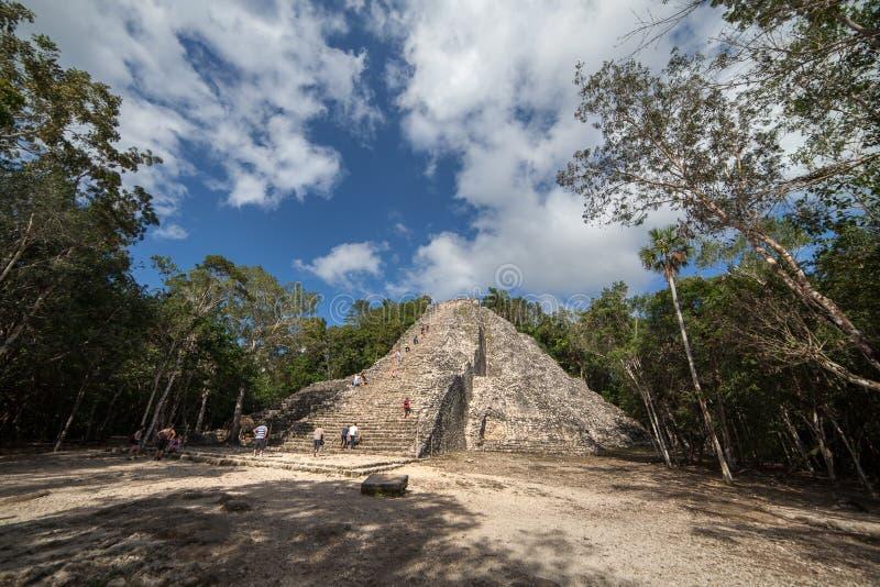 Mening van oude Mayan Piramide in Coba, Mexico royalty-vrije stock foto