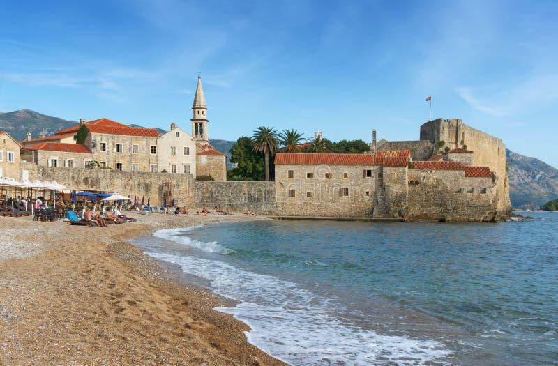 Mening van Oude Stad Budva montenegro stock foto's