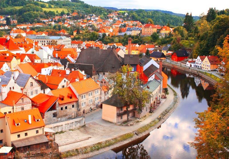 Mening van oude stad Cesky Krumlov, Tsjechische Republiek stock foto's