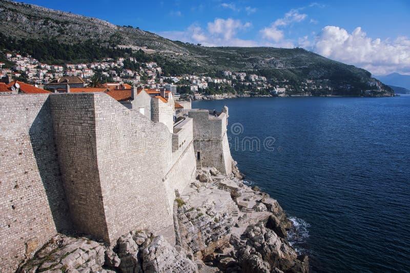 Mening van Oude Stad Dubrovnik, Kroatië stock afbeelding