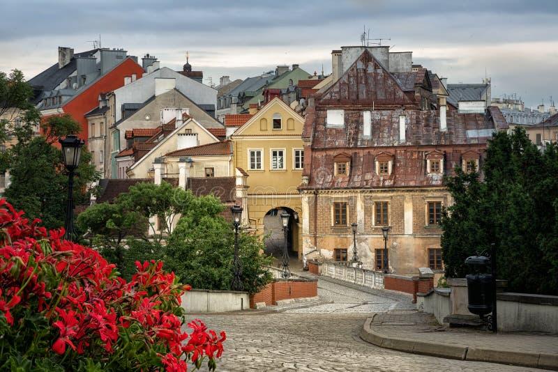 Mening van oude stad van Lublin van het Kasteel van Lublin, Polen stock foto