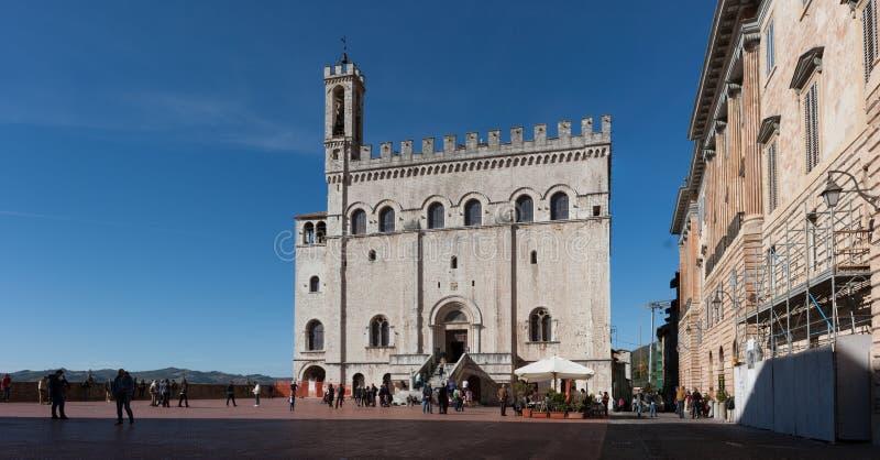 Mening van Palazzo-dei Consoli (Paleis van Consullen) in Gubbio, Umbri royalty-vrije stock afbeelding
