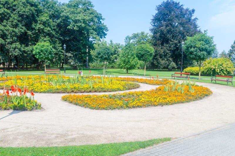 Mening van Park in Wejherowo, Polen royalty-vrije stock foto's