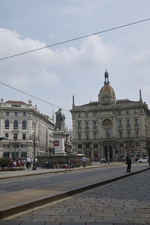 Mening van Piazza Cordusio royalty-vrije stock afbeeldingen