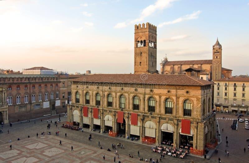 Mening van piazza maggiore - Bologna royalty-vrije stock foto