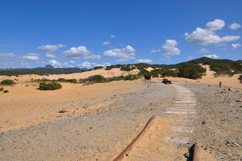 Mening van Piscinas-Duin in Sardinige, een natuurlijke woestijn stock afbeeldingen