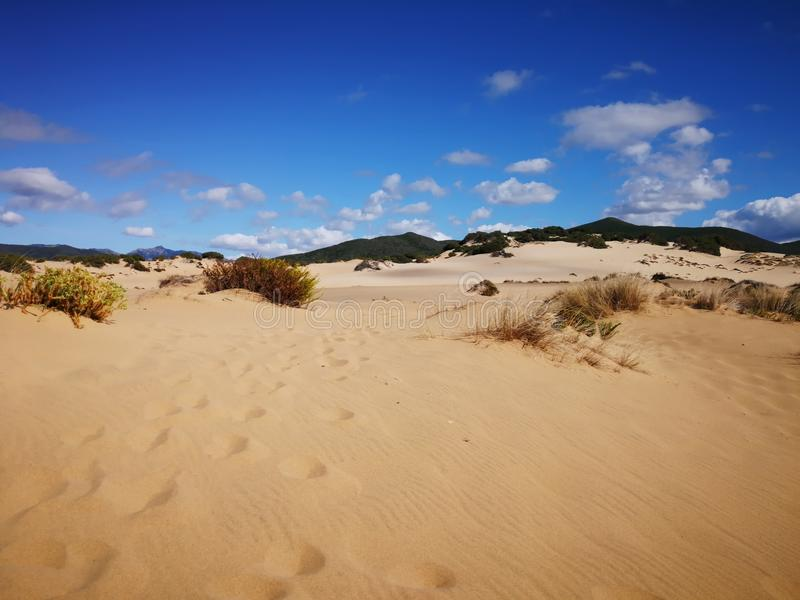 Mening van Piscinas-Duin in Sardinige, een natuurlijke woestijn royalty-vrije stock afbeelding