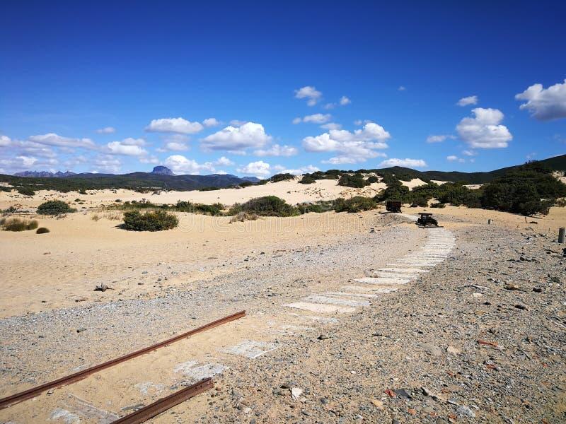 Mening van Piscinas-Duin in Sardinige, een natuurlijke woestijn stock foto