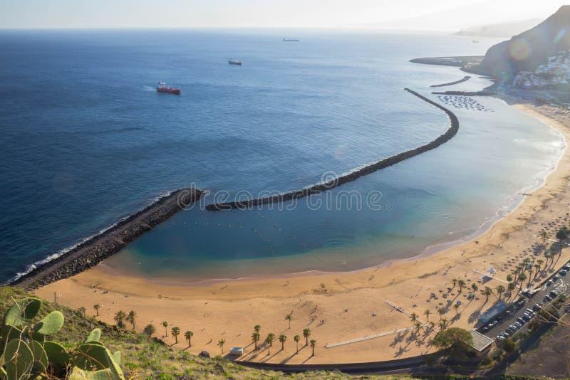 mening van Playa DE Las Teresitas, Tenerife stock foto's