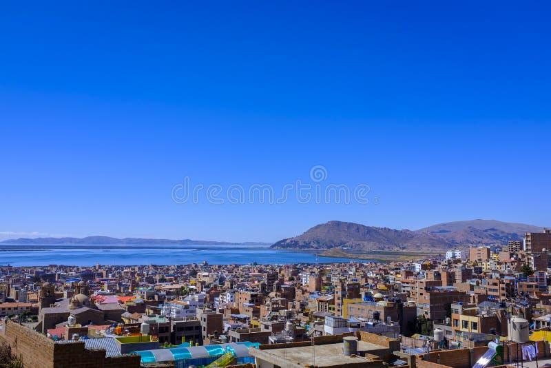 Mening van Puno, Peru stock fotografie