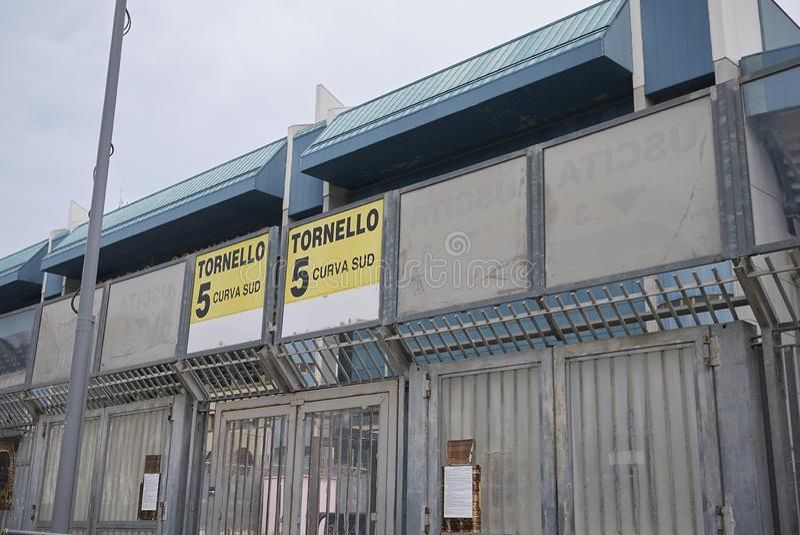 Mening van Renzo Barbera-stadion stock afbeelding