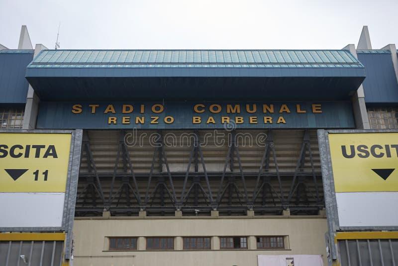 Mening van Renzo Barbera-stadion stock foto