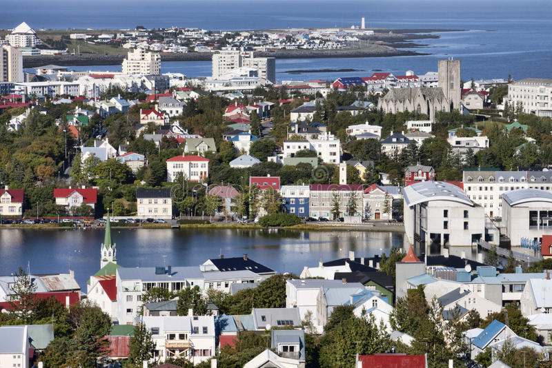 Mening van Reykjavik, IJsland stock foto's