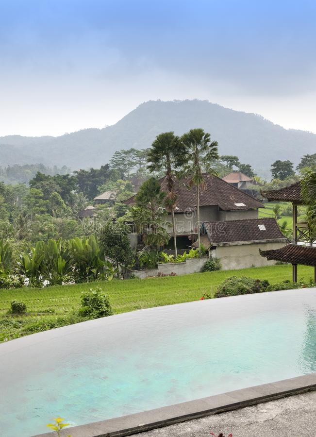 Mening van rijstterrassen en bergen en de kleine pool in de voorgrond Bali, Indonesië stock foto