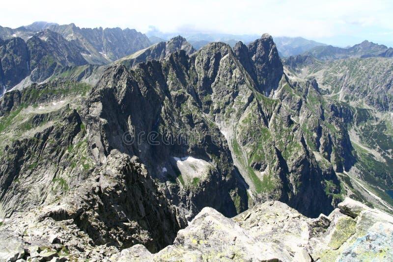 Mening van Rysy-piek in Tatry-bergen stock afbeelding