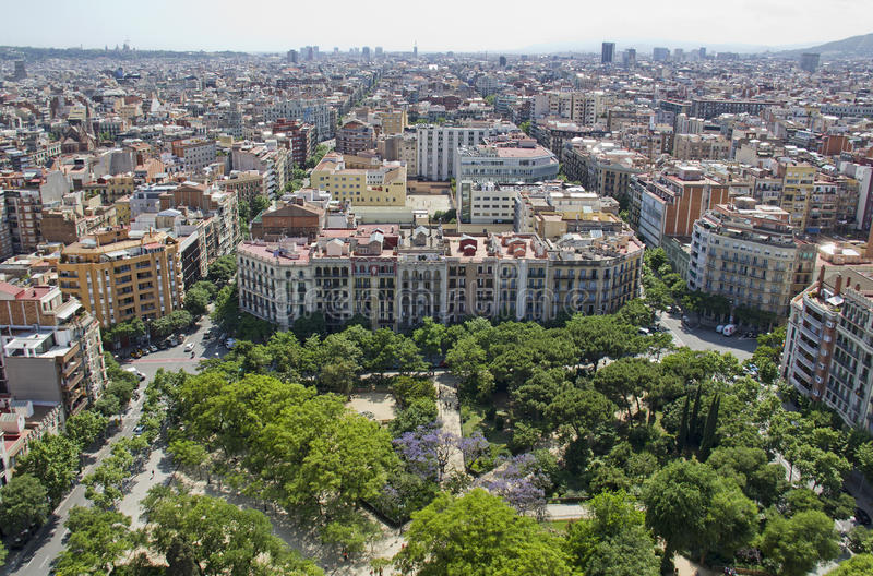 Mening van Sagrada Familia, Barcelona stock foto's
