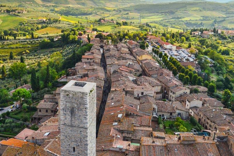 Mening van Sangimignano, Toscanië, Italië stock foto