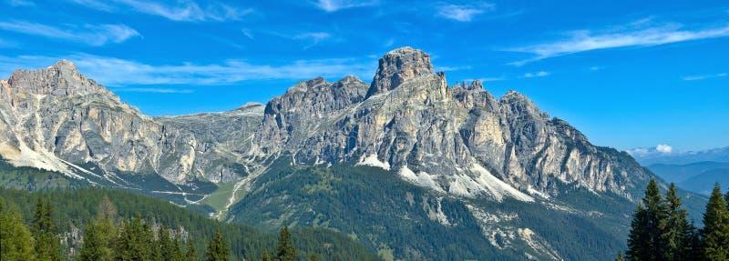 Mening van Sassongher, Alta Badia - Dolomiet royalty-vrije stock fotografie