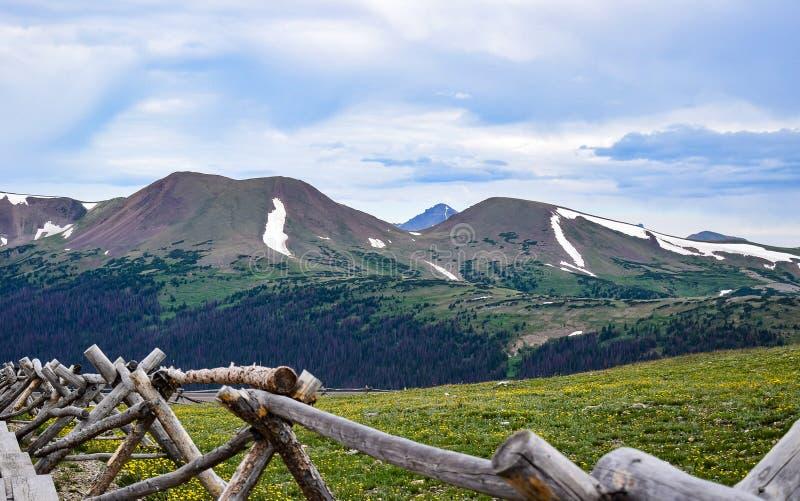 Mening van Schapenberg van het Alpiene Bezoekercentrum in Rocky Mountain National Park stock foto's