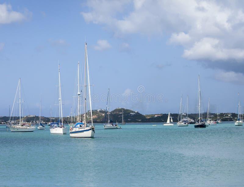 Mening van Simpson-Baai, St Martin stock fotografie