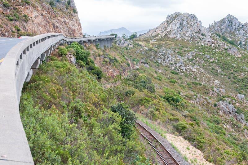 Mening van Sir Lowreys Pass en spoorlijn royalty-vrije stock afbeelding
