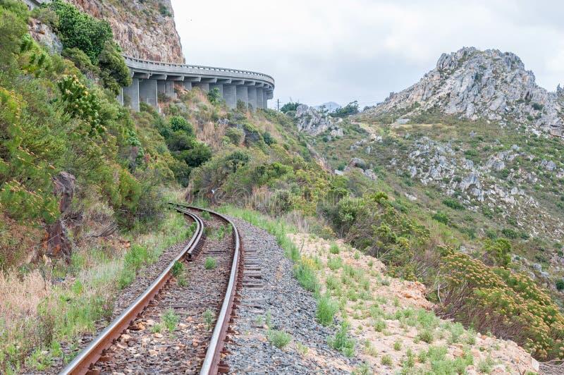 Mening van Sir Lowreys Pass en spoorlijn stock afbeelding
