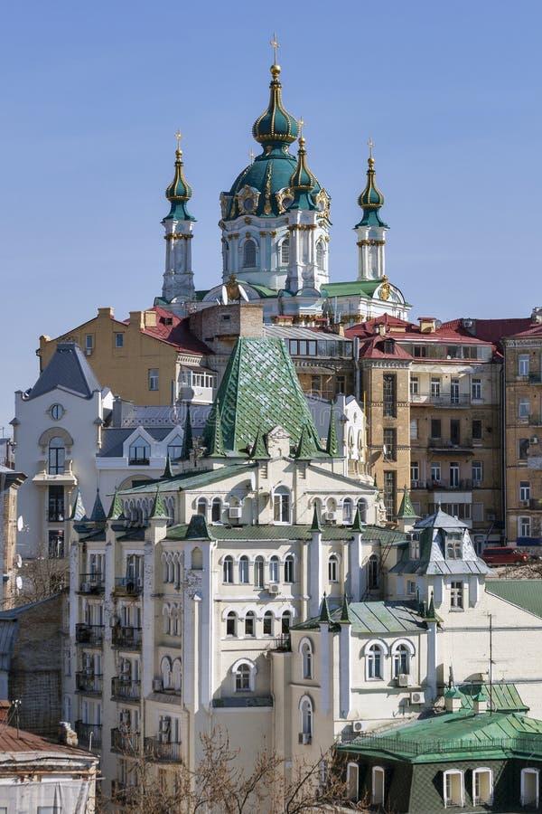 Mening van St Andrew Kerk in Kiev, de Oekraïne royalty-vrije stock fotografie