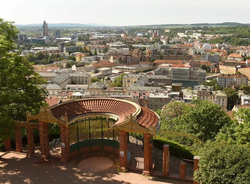 Mening van stad Brno van Spilberk-Kasteel, Tsjechische Republiek stock afbeelding